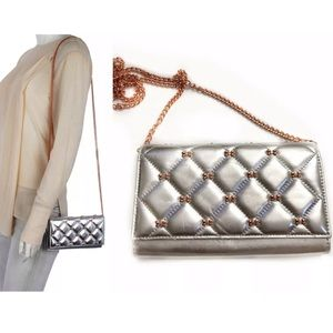 Ted Baker Silver Wallet Rose Gold Cambre Clutch